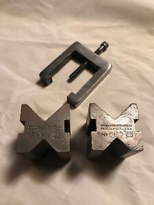 Vintage Brown Sharpe Mfg Co 749 V Block Pair With Clamp