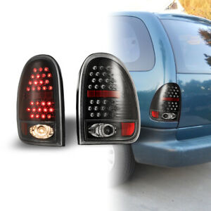 96 00 Dodge Caravan 98 03 Durango Led Tail Lights Pair Set Black Clear Lens