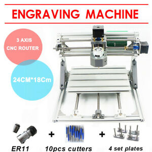Mini Cnc 2418 W Er11 Router Kit Diy Wood Carving Engraving Pcb Milling Machine