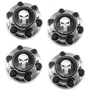 4x For Chevy Gmc 6 Lug 16 17 Skull Badge Wheel Center Hub Caps Nut Covers