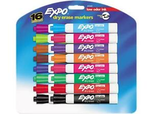 Expo 81045 Low Odor Dry Erase Markers Chisel Tip Assorted 16 set For School