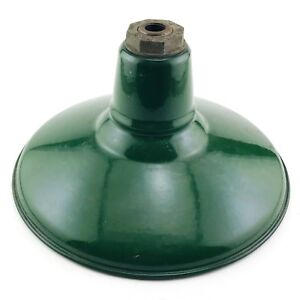 Benjamin 12 Green Porcelain Enamel Light Fixture Industrial Gas Station Barn 1