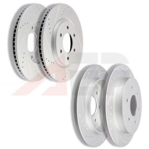 2x Front And 2x Rear Discs Brake Rotors Fits 2008 2009 2010 Qx56 Slot Drill