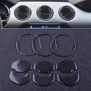 9pcs Carbon Fiber Air Vent Outlet Ring Cover Trim Fit For Ford Mustang 2014 2018