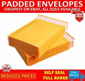 Gold Padded Bubble Envelopes Bags Postal Wrap All Sizes Various Quantites