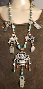 Vintage Chinese Mutton Fat Jade Turqoise Sterling Silver Necklace 41 Inches