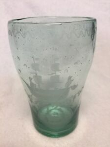 Antique Etched Bubbled Glass Green Ship Galleon Colonial Tumbler Barware Vintage