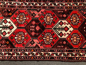 3x10 Persian Runner Rug Caucasian Wool Hand Knotted Antique Black Red Pink 4x10