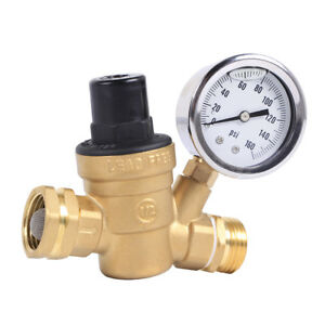 Water Pressure Regulator Brass Lead Free For Rv Adjustable Plumbing With Guage