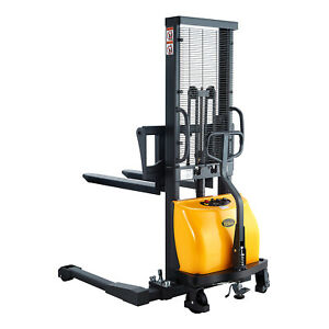 Semi electric Straddle Stacker 63 Lift 2200lbs With Adj Forks