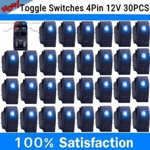 30x Waterproof Marine Boat Car Rocker Switch 12v Spst On off 4pin 4p Led Blue