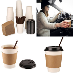 Paper Coffee Hot Cups By W Lids Straws Sleeves White 12 Oz Set Of 100 Perfect