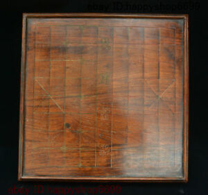 19 Antique Chinese Huali Wood Xiangqi Gobang The Game Of Go Checkerboard Statue