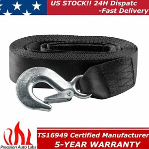 2 X20ft Tow Strap With Hook Ends 10 000 Lb Capacity Recovery Rescue Winch Sling