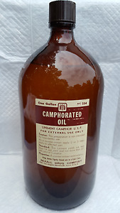 Vintage 14 Antique Apothecary Bottle Camphorated Oil Rexall 1 Gallon