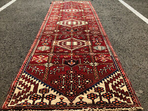 3x9 Persian Runner Rug Hand Knotted Antique Red Caucasian Heriz Serapi Wool 2x9