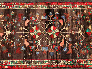 3x12 Persian Runner Rug Caucasian Hand Knotted Wool Made Antique Brown Blue Teal