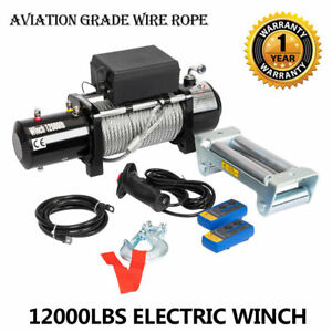 12000 Electric Recovery Winch Truck Suv Durable Remote Control 3 Stage Planetary