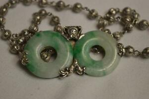 Ornate Antique Marked Chinese Silver Jade Necklace
