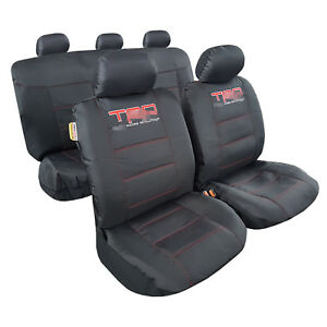 Car Seat Covers 9pcs Durable Waterproof Canvas Embroidery Black For Tacoma