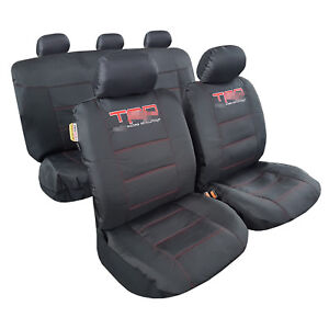Car Seat Covers 9pcs Durable Waterproof Canvas Embroidery Black For Tacoma Trd