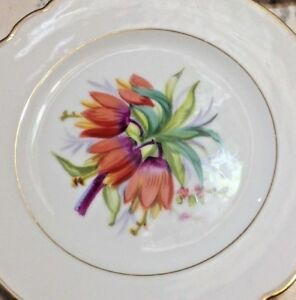 Six Antique Old Paris Porcelain Plates W Hand Painted Flowers