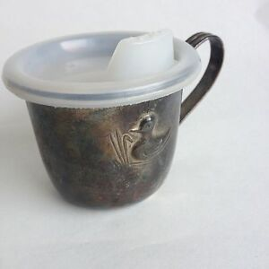 Vintage Silver Plated Baby Cup With Lid Children S Duck Embossed Hong Kong Made