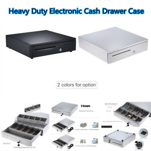 Heavy Duty Electronic Cash Drawer Case Storage 5 Bill 5 Coin Trays Check C6s4