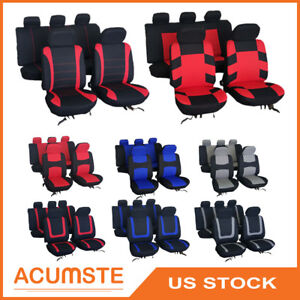 Various Universal Car Seat Covers Full Set Front Rear Head Rest Auto Seat Cover