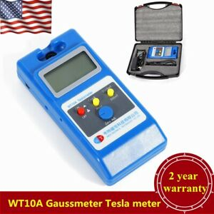 Wt10a Lcd Tesla Meter Gaussmeter Surface Magnetic Field Tester W box Usa
