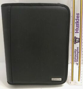 Franklin Covey Classic Soft Black Leather Planner Binder Full Zipper 7 Ring 1 5