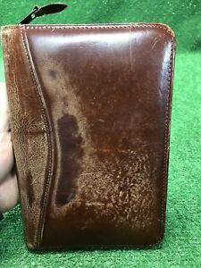 Vintage Scully Leather Distressed Patina Notepad Holder Folder Day Planner