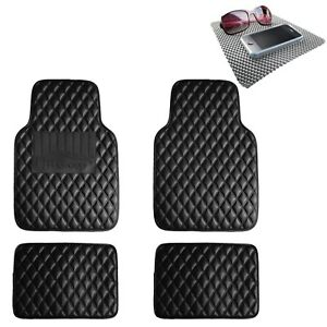Universal Leather Floor Mats For Car Auto Diamond Pattern Black W Dash Mat