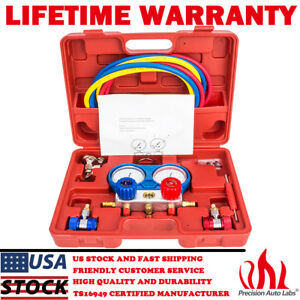 Ac Manifold Gauge Set R410a R22 R134a W Hoses Coupler Adapters Refrigeration Kit