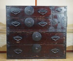 Antique Tansu Japan Big Furniture 1800s Edo Period Japanese Interior Cabinet