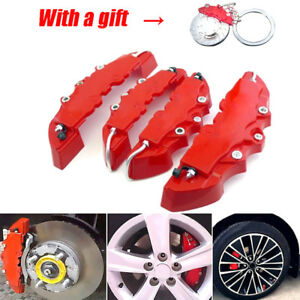 With A Gift 2 Pair Universal 3d Red Car Disc Brake Caliper Covers Front Rear