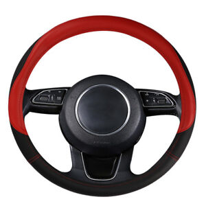 Black And Red Microfiber Leather Auto Car Steering Wheel Cover Universal 15 Inch