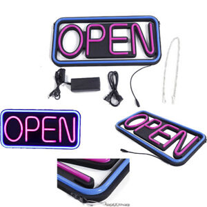 Led Open Sign Rectangular Hang Neon Light Motion Bar Outdoor Business Supplies