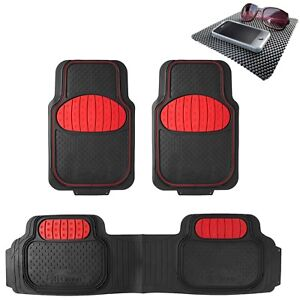 Universal Rubber Floor Mats Football Design Red For Car Suv Van W Free Dash Mat