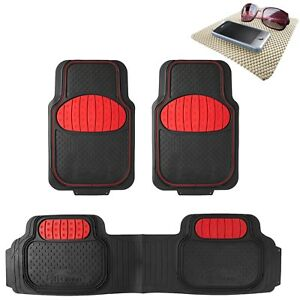 Universal Rubber Floor Mats Football Design Red For Car Suv Van W Free Gift