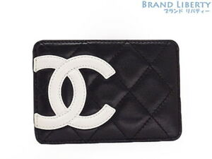 Auth Chanel Cambon Card Case Pass Case Business Card Holder A26725