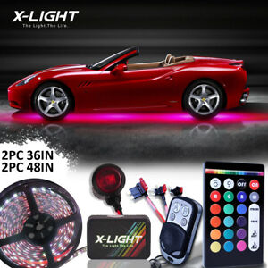 18 Color Led Under Car Glow Underbody System Neon Light Kit Remote Waterproof