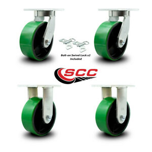 Scc 8 Hd Green Poly On Metal Caster Set 2 Swivel W swivel Lock 2 Rigid Set 4