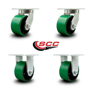 Scc 6 Extra Heavy Duty Green Poly On Metal Caster Set 2 Swivel 2 Rigid set 4