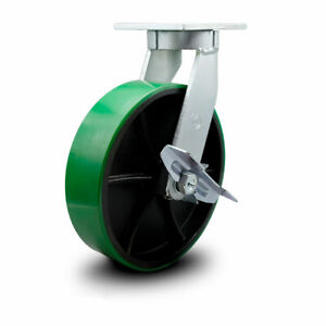 Scc 12 Hd Green Poly On Metal Wheel Swivel Caster W brake Swivel Lock