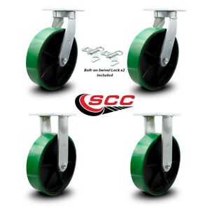 Scc 12 Hd Green Poly On Metal Caster Set 2 Swivel W swivel Lock 2 Rigid Set 4