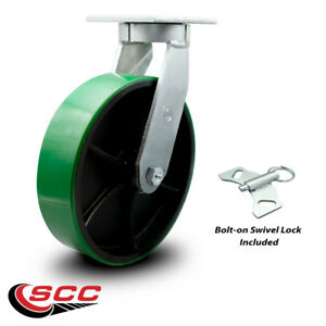 Scc 12 Hd Green Poly On Metal Wheel swivel Caster W swivel Lock 3500 Lbs caster
