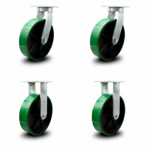 Scc 10 Hd Green Poly On Metal Caster Set 2 Swivel W swivel Lock 2 Rigid Set 4