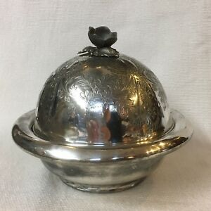 Meriden Silver Plate Butter Dish Server Flower Finial Pierced Liner Unique