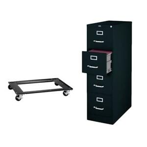 2 Piece File Cabinet And Commercial Cabinet Mobile Dolly Set In Black